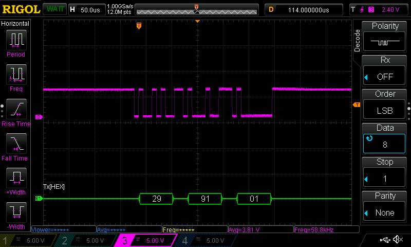 Serial signal on the T pin.