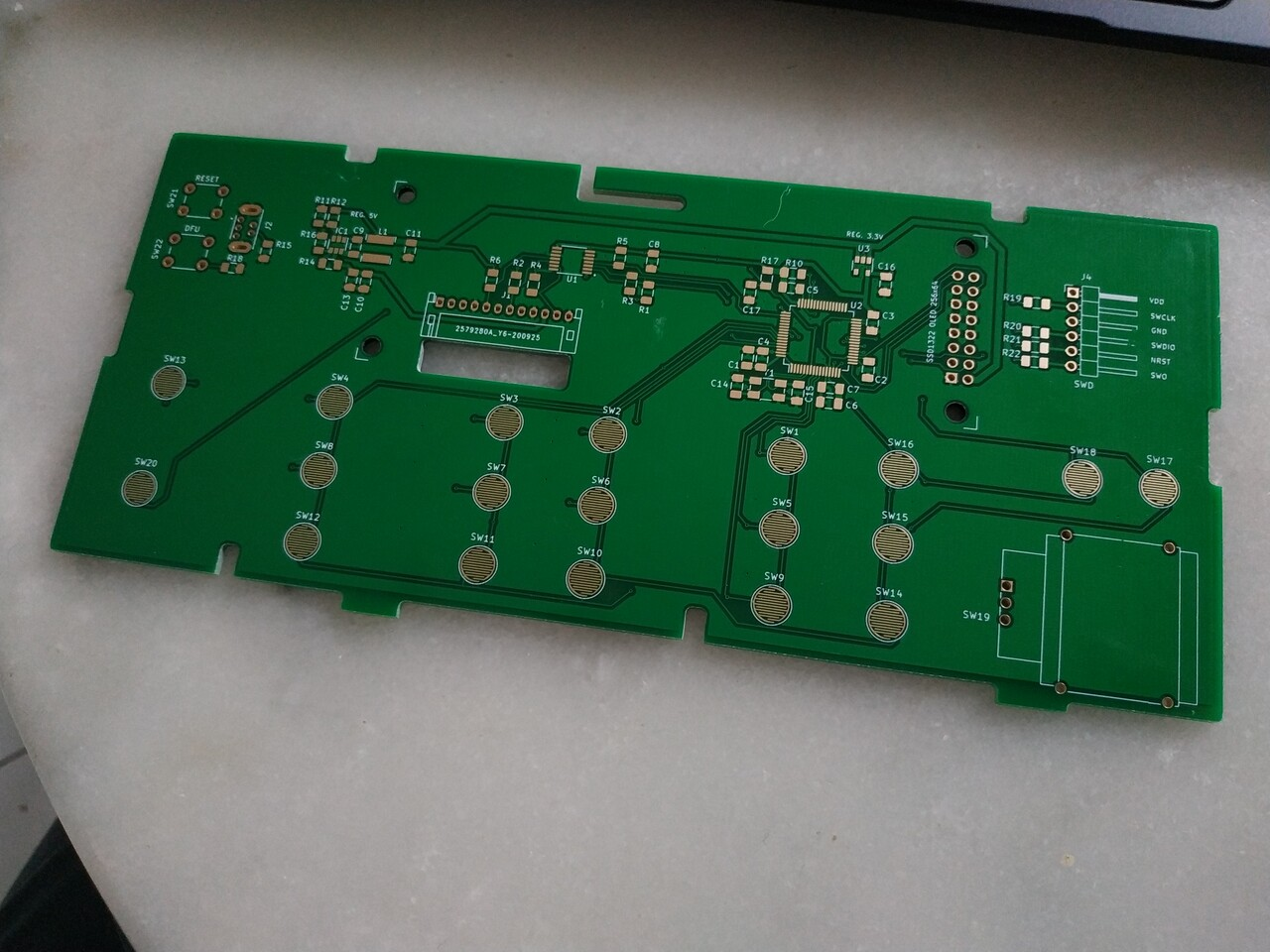 the PCB for a replacement front panel for the HP 34970A