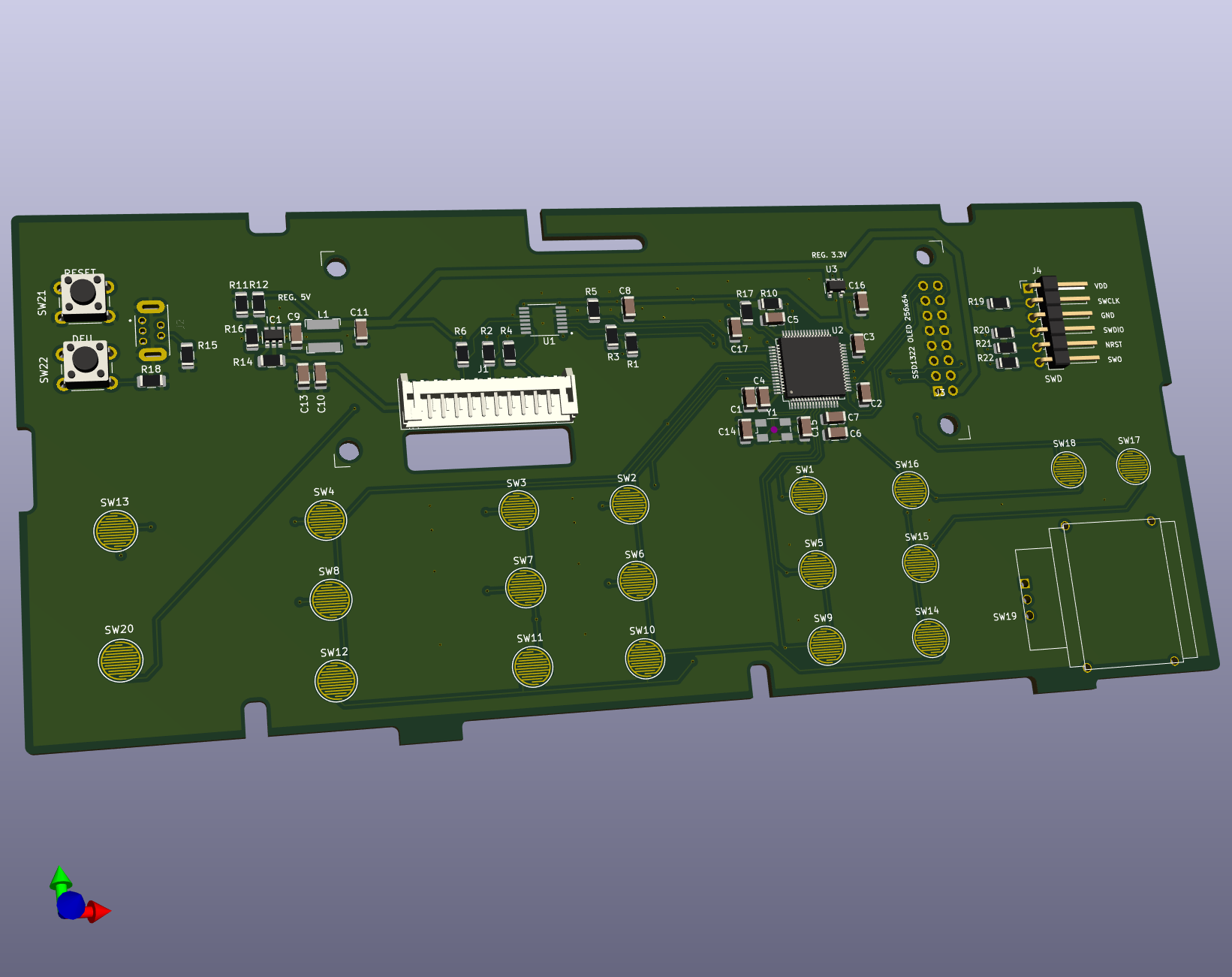 3D view of the PCB for a replacement front panel for the HP 34970A