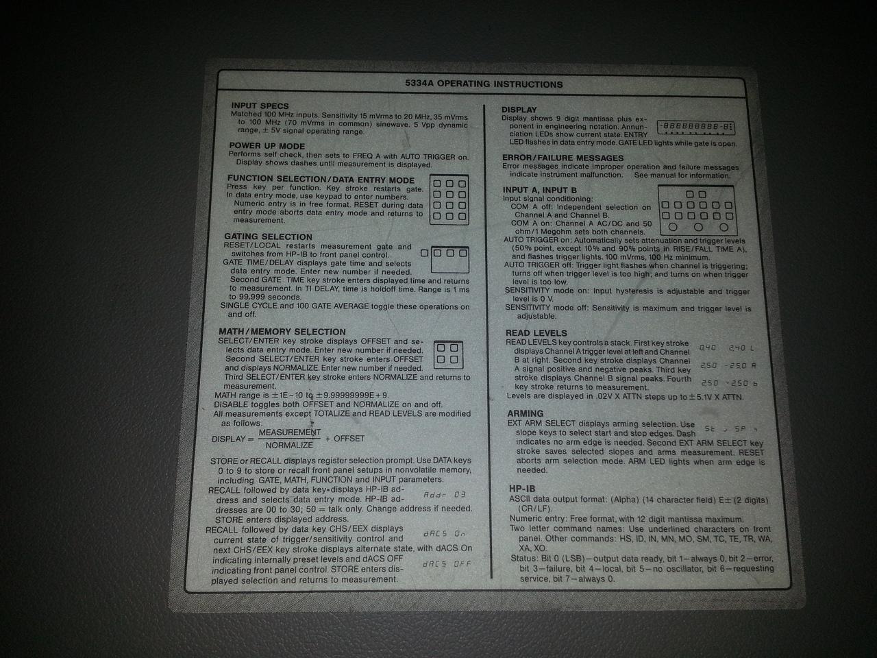 HP5334A Quick Instruction Set